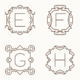 Vector mono line monograms. E, F, G,H. Royalty Free Stock Photos