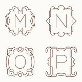 Vector mono line monograms. M, N, O, P. Royalty Free Stock Images