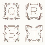 Vector mono line monograms. Q, R, S, T. Stock Photography