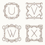 Vector mono line monograms. U, V, W, X. Royalty Free Stock Photography