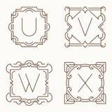 Vector mono line monograms. U, V, W, X. Royalty Free Stock Photography