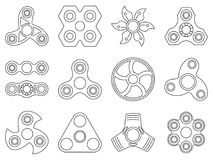 Vector mono line pictures of hand spinner toys for anti stress games Royalty Free Stock Photos