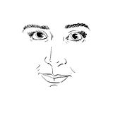 Vector monochrome art drawing, portrait of gorgeous dreamy girl Stock Photography