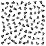 Vector monochrome background with lots of bees.  royalty free illustration