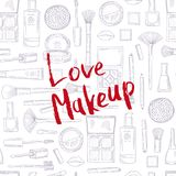 Vector monochrome background with Love Makeup lettering Royalty Free Stock Image
