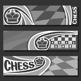 Vector monochrome banners for Chess. Game with copy space, in headers black & white curved checkerboard squares for title on chess theme, original font for word vector illustration