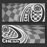 Vector monochrome banners for Chess. Game with copy space, in layouts black & white curved squares for title text on chess theme, original font for word - chess royalty free illustration