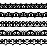 Vector monochrome border pattern brushes Stock Photo