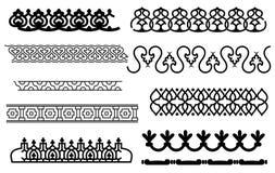 Vector monochrome border pattern brushes Royalty Free Stock Photos