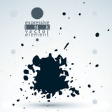 Vector monochrome brush painted ink blob, eps8 smudge background Stock Photo