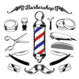 Vector monochrome collection barbershop tools. Engraving style stock illustration