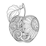 Vector Monochrome Contour Apple. Hand Drawn Decorative Fruit royalty free illustration