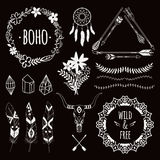 Vector monochrome ethnic set with arrows, feathers, crystals Stock Image