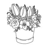 Vector monochrome festive holiday bouquet. Vector monochrome sketch, festive holiday flower bouquet with roses, peonies, carnation, twigs and leaves in the box Royalty Free Stock Photo