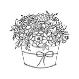 Vector monochrome festive holiday flowers Stock Images