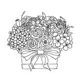 Vector monochrome festive spring bouquet. Vector monochrome sketch, festive holiday flower bouquet with orchid and tulip, twigs and leaves in the box on Stock Images