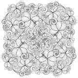 Vector Monochrome Floral Background. Hand Drawn Ornament with Decorative Clover and Coins Stock Photo