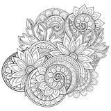 Vector Monochrome Floral Background. Hand Drawn Ornament with Flowers. Template for Greeting Card Royalty Free Stock Image