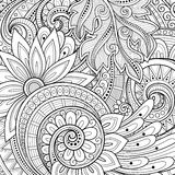 Vector Monochrome Floral Background. Hand Drawn Ornament with Flowers. Template for Greeting Card Stock Photography