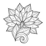 Vector Monochrome Floral Background. Hand Drawn Ornament with Flowers. Template for Greeting Card Royalty Free Stock Photography