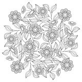 Vector Monochrome Floral Background Stock Photo