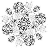 Vector Monochrome Floral Background Stock Image
