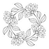 Vector Monochrome Floral Background. Hand Drawn Ornament with Flowers. Template for Greeting Card Stock Images