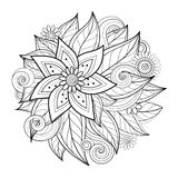 Vector Monochrome Floral Composition in Round Shape Stock Photos
