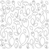 Vector monochrome floral pattern. Hand Drawn floral texture. Coloring sketch. Stock Photography