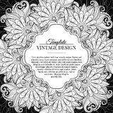 Vector Monochrome Floral Template with Place for Text Stock Photography