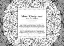 Vector Monochrome Floral Template with Place for Text Royalty Free Stock Photo