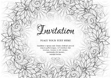 Vector Monochrome Floral Template with Place for Text Royalty Free Stock Images