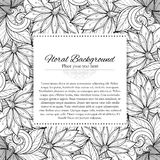 Vector Monochrome Floral Template with Place for Text Royalty Free Stock Photography