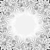 Vector Monochrome Floral Template with Place for Text Stock Images