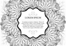 Vector Monochrome Floral Template with Place for Text Royalty Free Stock Image