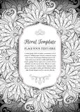 Vector Monochrome Floral Template with Place for Text Royalty Free Stock Photos