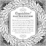 Vector Monochrome Floral Template with Place for Text Stock Photos