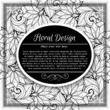 Vector Monochrome Floral Template with Place for Text Stock Image