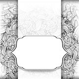 Vector Monochrome Floral Template with Place for Text Stock Photo