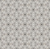 Vector monochrome geometric ornament. Seamless pattern. Vector monochrome seamless pattern, floral linear ornamental background, repeat geometric tiles, thin Royalty Free Stock Images