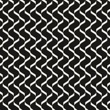 Vector monochrome geometric seamless pattern with mesh, grid, lattice, net. Abstract black and white texture with curved lines. Optical illusion effect of 3d Stock Photos