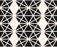 Vector monochrome geometric seamless pattern with triangles, hexagons, grid. Vector abstract geometric seamless pattern. Stylish geometrical texture with royalty free illustration
