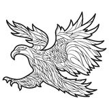 Vector monochrome hand drawn illustration of eagle. Royalty Free Stock Photos