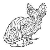 Vector monochrome hand drawn illustration of sphynx cat. Royalty Free Stock Photos