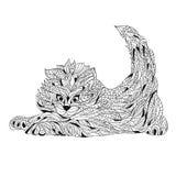 Vector monochrome hand drawn zentagle illustration of cat. Stock Photo