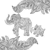 Vector monochrome hand drawn zentagle illustration of an elephant Royalty Free Stock Photography