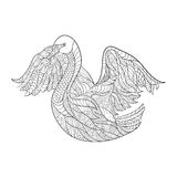 Vector monochrome hand drawn zentagle illustration of fox. Coloring page with high details  on white background. Stock Images