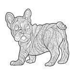 Vector monochrome hand drawn zentagle illustration of French bulldog Stock Images