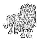 Vector monochrome hand drawn zentagle illustration of lion. Coloring page with high details  on white background. Boho style. Lion standing. Design for T-shirt Stock Image