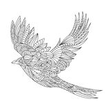 Vector monochrome hand drawn zentagle illustration of magpie. stock illustration